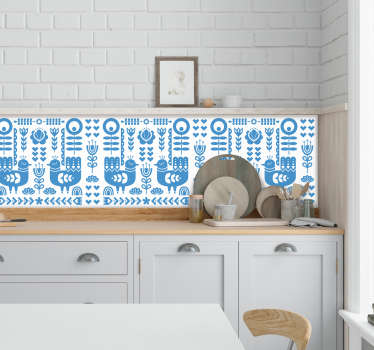 Customize your kitchen in a very original way with this amazing kitchen stickerwith a pattern formed by figures of popular Norwegian art!