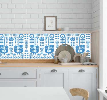 Personalizza la tua cucina in un modo molto originale con questo fantastico adesivo da cucina con un modello formato da figure dell'arte popolare norvegese!