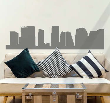 Et nydelig design som illustrerer oslos skyline. Du kan dekorere hjemmet ditt med dette skyline-klistremerket og nyte de fantastiske bygningene i oslo.