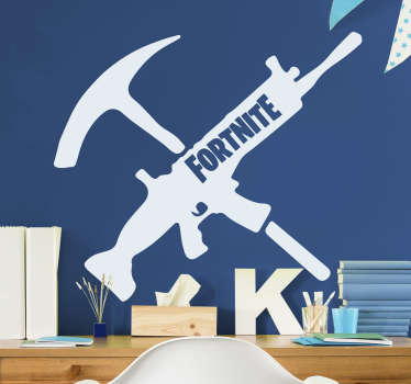 Decorate your walls with this fantastic Fortnite sticker! A gun and a pickaxe with the word fortnite on the gun. Order yours now!