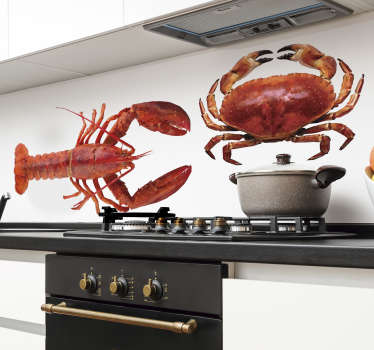Decorative and easy to apply home wall kitchen decal of seafood with the feature of a huge shrimp and crab. Easy to apply on any flat surface.