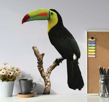 Easy to apply decorative wall sticker of a toucan bird on a tree in pretty colorful prints and suitable for any wall space in the home.