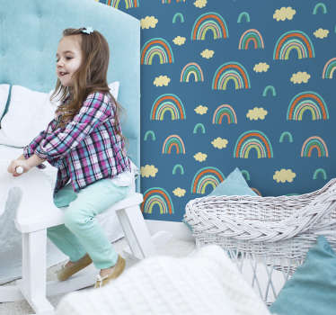 Wall mural sticker of rainbow in colorful background ideal for the space of any kid. An illustrative design for learning.