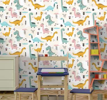 Decora lo spazio della stanza dei bambini con questo dinosauro multicolore con vegetazione e nuvole con pioggia che cade in un grazioso aspetto di sfondo.