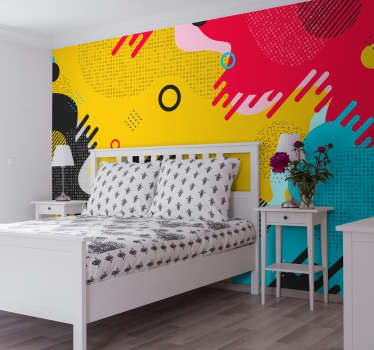 Dekorativt vægmaleri klistermærke design af lyse farvede geometriske og abstrakte mønstre i memphis stil egnet til soveværelse plads.