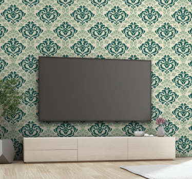 Decorative wall mural sticker design of ornamental filigree flower plant in green colour to add aesthetic touch to the wall space in the home.