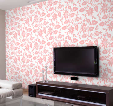 Decorative wall mural decal design of flower plants in pink colour to add charm to the wall surface in the home, easy to apply with no air bubble.