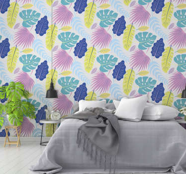 Easy to apply wall mural sticker of tropical plant in it pretty colour appearance to cover and decorate the wall space in the home.