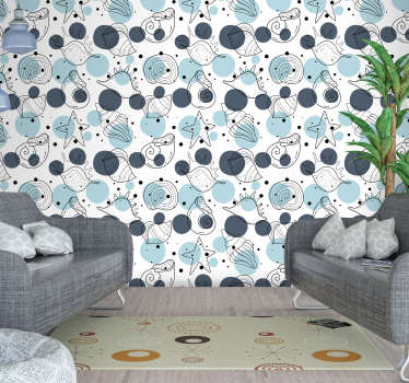 Decorative wall mural sticker design of sea animals like the snails, starfish, crabs and more in simple colour to decorate the living room .
