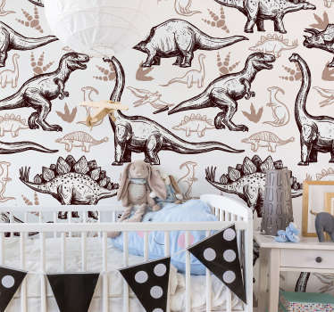 Decorative wall mural sticker of dinosaurs in different type with appealing colour to beautify the wall surface in the home especially the kid's room.