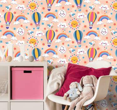 Eenvoudig aan te brengen muurschildering zelfklevende sticker van kleurrijke ruimte voor kinderen met de ster, maan, regenboog, luchtballon en vogels in kleurrijke grappige gezichten.