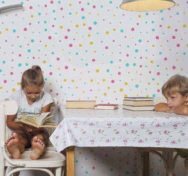Fotobehang zelfklevende sticker met meerdere gestippelde mol ideaal om de ruimte van baby te versieren. Eenvoudig aan te brengen en u kunt de maat kiezen die geschikt is voor uw ruimte.