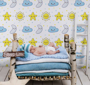 Fotomural adhesivo infantil estrellado diseño de vinilo de estrellas, luna y nube en caras divertidas ideal para la decoración de niños y espacio infantil en el hogar.