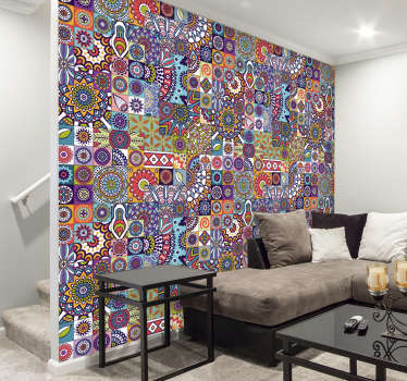 Buy our decorative hydraulic mandala wall mural decal design of colourful ornamental geometric patterned art symbols to create charm on any flat wall.