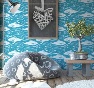 Autocolant decorativ mural de pești de mare pe fundalul mării albastru profund pentru a înfrumuseța suprafața peretelui livingului sau orice spațiu din casă.