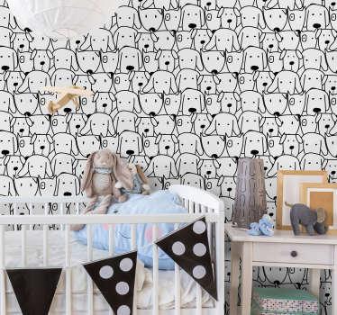 Køb vores vægmaleri klistermærke design af pakker med hunde med sjove ansigter til at dække og dekorere vægoverfladen i børns værelse. Nemt at anvende.