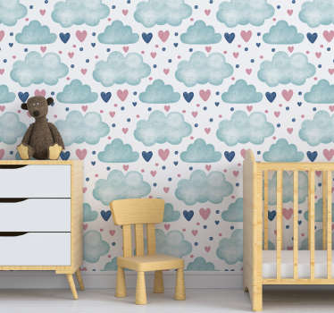 Easy to apply wall mural sticker for kids room created with cloud and heart shapes in multiple to cover and decorate the wall space in the home.