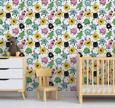 Ahhh a monster!Oh wait these happy monsters are friendly! Decorate your kid's bedroom with this design from our collection of kid's bedroom wallpaper.