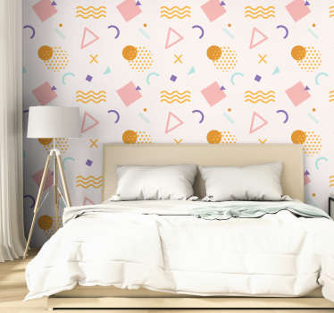 Easy to apply decorative adhesive wall mural sticker of geometric shapes and pattern with colourful background for any wall space in the home.