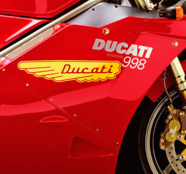 Adhesivo de moto del antiguo símbolo de la famosa marca de motocicletas italiana Ducati. Si eres un apasionado de las clásicas motos, no te puede faltar esta pegatina.