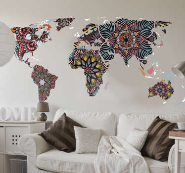 Can world maps get anymore beautiful than this? Why not add a beautiful splash of colour to your bland white walls with this world map sticker!