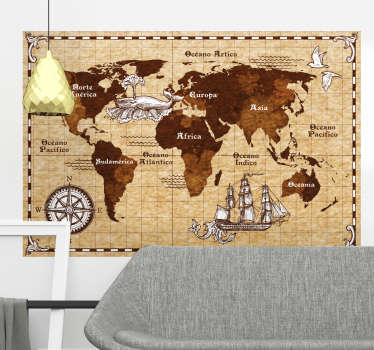 Vinilo decorativo mapamundi vintage con brújula. Hermoso diseño sobre un fondo marrón con características en la superficie para hacer un viaje en él.