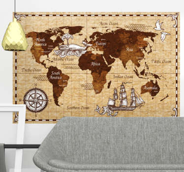 Explore the world using this beautiful world map sticker.  Taking inspiration from the vintage look this sticker is perfect for you!