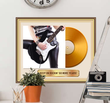 Personalisable gold music wall decal  of a guitar and a record that can be personalise with the image and text of your choice. Easy to apply.