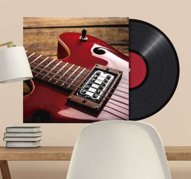Decorative musical guitar with a record  wall decal to beautify any space in the home. You can customise the guitar space with your image choice.