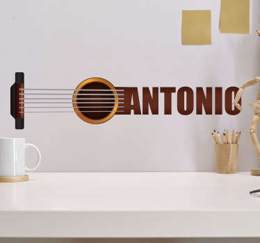 Personalisable name Spanish guitar wall decal that you can have with your name on the guitar to decorate the wall space in the home.