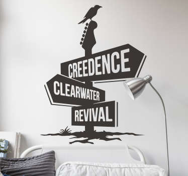 Adhesive rock n roll music group wall decal representaion of Creedence Clearwater Revival to decorate the home  with rock music vibes in any colour.
