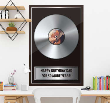 A sticker for the music fan in your life. This design depicts a record in a plaque with the ability to personalise the text and image