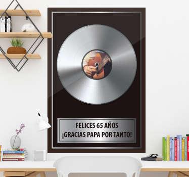 Vinilo pared decorativo de música rock de disco de platino con de texto que se puede personalizar con la oración que elija. Fácil de aplicar.