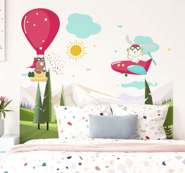 Easy to apply illustrative headboard wall decal with mountain and kids flying with air balloon and aeroplane around with the sun and cloud.