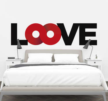 Decorative headboard wall decal with  colourful pretty text of ''loove'' that you will admire and will add a touch of beauty to the space.