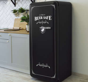Easy to apply decorative fridge door sticker with the text '' the beer safe '' it is bordered with fine rectangular ornamental style.