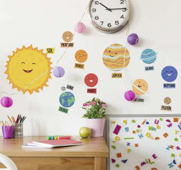 Vinilo adhesivo de pared espacial educativo muy fácil de aplicar con todos los nombres de los planetas en colores de fondo con caras divertidas que atraen a los niños