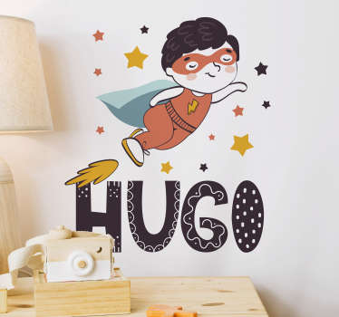 Easy to apply flying superhero wall decal that is customisable with any kid's name on it to decorate the space of a kids room. Easy to apply.