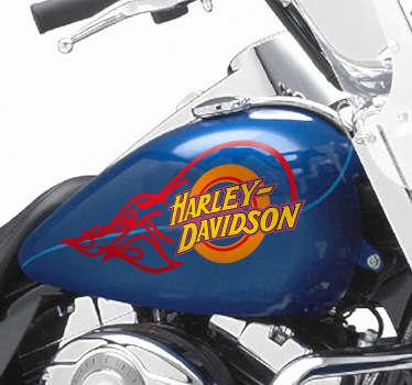 Original adhesivo simulando una rueda con fuego, adorna tu moto si eres un apasionado de esta mítica marca de motocicletas.