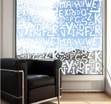 Fácil de aplicar, el diseño de vinilo para ventana de letras del abecedario de a a z en cualquier color es el más adecuado para la ventana del dormitorio de los niños.