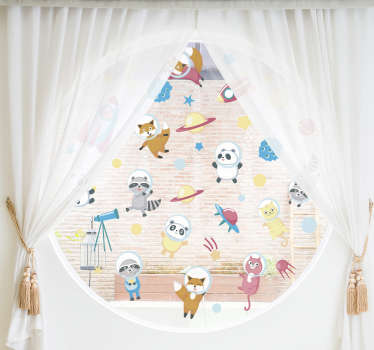 Easy to apply window sticker design with animals in space with all the space elements to decorate the bedroom window of kid or infant.
