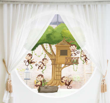 Adhesive decorative window vinyl decal of savanna animals playing and jumping all over a tree house.Suitable  window decoration of  kid or infant room.