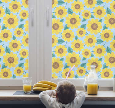 Decorative window decal design of brilliant looking sun flower motifs in multi colour background appearance to cover the window in smiling beauty.