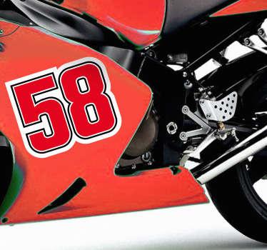 Adesivo decorativo di commemorazione del pilota italiano di motociclismo, morto tragicamente sul circuito di Sepang.