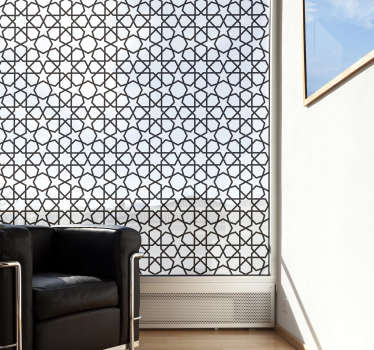 A decorative window vinyl decal design of Eastern Moucharabieh with the feature of geometric forms like stars and hexagons.