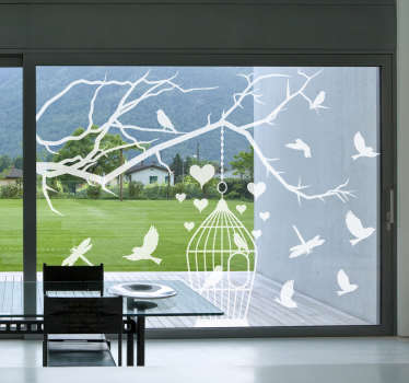 Decorative window vinyl decal design of birds in the cage and on tree branches with hearts. You can have the product in any colour of preference.