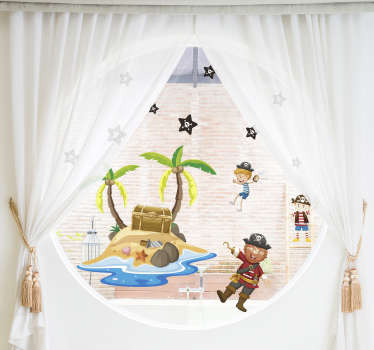 Easy to apply decorative window decal with pirate and palm trees that is suitable to apply on the window of kids bedroom.