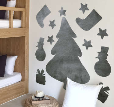 Writing surface wall sticker vinyl design with Christmas features like snow man, stars and more and you can have it in any colour.