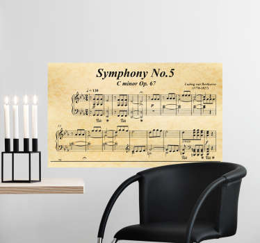 Decorative classical music wall art decal with 5th Beethoven Symphony to decorate the living room or bedroom . You can chose the size you prefer.