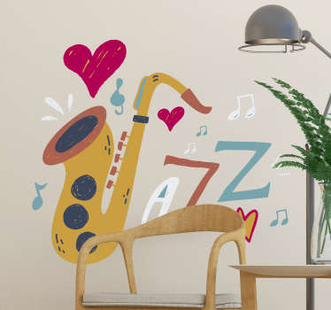 Jazz up your home with this jazz sticker. An easy way of expressing your love for this music genre, and equally a superb way to decorate your home